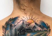 Tatuaggi estivi tramonto montagne e lago by @meganchuntz