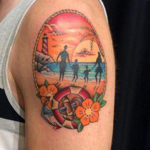 tatuaggio mare spiaggia famiglia faro ancora tramonto by @pittantattoo