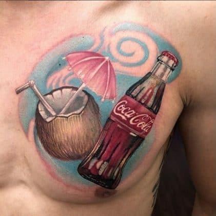 tatuaggio noce di cocco coca cola by @tatuajesdereyes