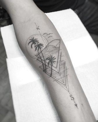 tatuaggio palme onde by @wmtattoosp
