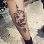 tatuaggio polpaccio onda montagna freccia by @josealmeida_artista