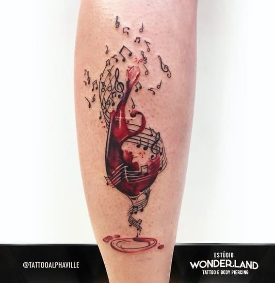 tatuaggio vino musica by @tattooalphaville