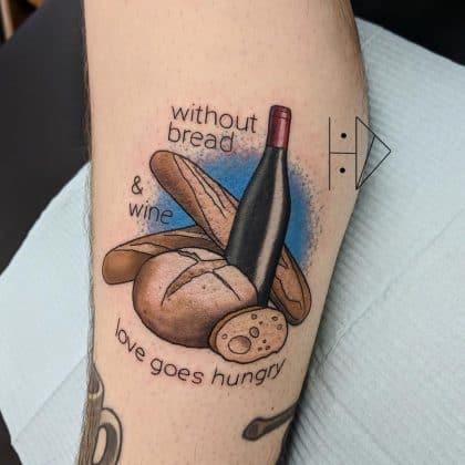 tatuaggio vino pane by @hc.drew
